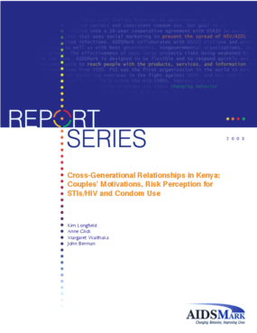 Cross-Generational Relationships in Kenya: Couples' Motivations, Risk Perception for STIs/HIV and Condom Use