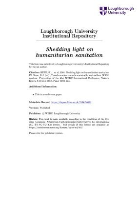 Shedding light on humanitarian sanitation